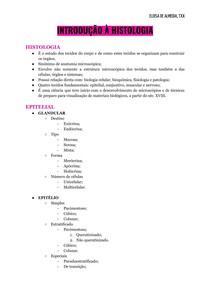 Histologia II - INTRODUÇÃO À HISTOLOGIA