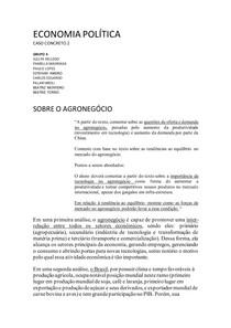 TRABALHO ECONOMIA POLITICA - AGRONEGOCIO/OFERTA E DEMANDA