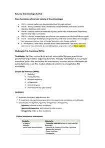 Resumo Anestesiologia animal