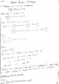 Questões resolvidas de Álgebra linear - Terceiro estágio