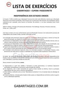 EXERCÍCIOS RESOLVIDOS INDEPENDÊNCIA DOS ESTADOS UNIDOS - 01