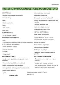 ROTEIRO PARA CONSULTA DE PUERICULTURA