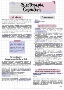 Resumo Introdução à Psicoterapia Cognitiva e ao modelo cognitivo de Aaron Beck - Psicoterapia Cognitiva