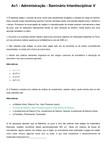 Av1 - Adm - Seminário Interdisciplinar V