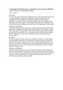 AVALIAÇÃO III Direito Tributário e Empresarial
