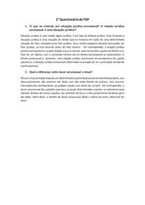 QUESTIONÁRIO |Teoria Geral do Processo | Situação Jurídica e Relação Jurídica