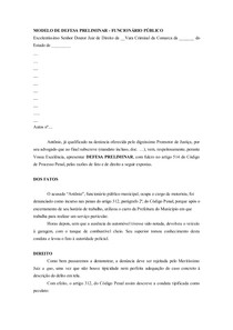 Modelo De Defesa Preliminar Funcionario Público Direito Pr