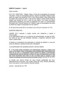 Direito Trabalho  I  -Aula 9