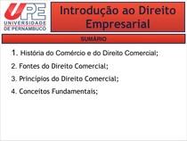 Introdução ao Direito Empresarial - UPE