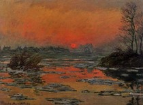 Sunset On The Seine In Winter-Claude Monet
