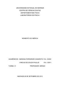 6. Momento de Inércia - Relatório de Laboratóro de Física Geral 1