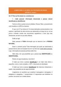 Comentários à LGPD: ARTIGO 5º, inciso I - Dados Pessoais