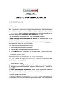 DIREITO CONSTITUCIONAL II - Remédios Constitucionais (ROTEIRO DE ESTUDO)