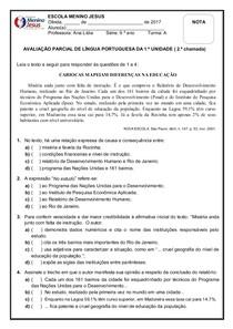 AV   2.ª CHAMADA   PORTUGUÊS   1.ª UNIDADE