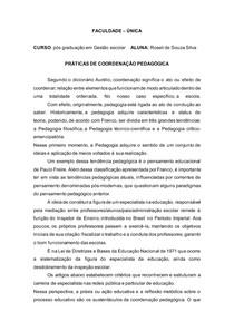 Resumo PRÁTICAS DE COORDENAÇÃO PEDAGÓGICA
