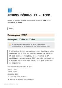 Resumo Módulo 13 - ICMP - CCNA v7_1 - Introdução às Redes