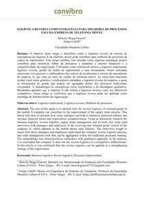 LOGÍSTICA REVERSA COMO ESTRATÉGIA PARA MELHORIA DE PROCESSOS EM UMA EMPRESA DE TELEFONIA MÓVEL