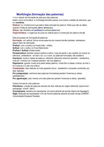 Resumo: Morfologia (formação das palavras)