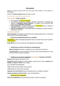 Resumo de Hemostasia Primaria e coagulação