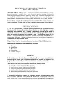 REINO MONERA NO ENEM: LISTA DE EXERCÍCIOS