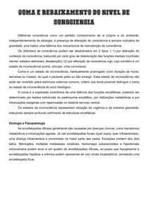 COMA E REBAIXAMENTO DO NIVEL DE CONSCIENCIA