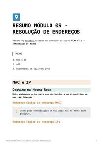 Resumo Módulo 9 - Resolução de Endereços - CCNA v7_1 - Introdução às Redes