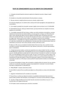 TESTE DE CONHECIMENTO AULA 03 DIREITO DO CONSUMIDOR