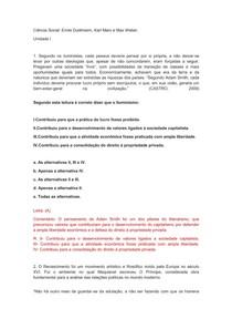 Ciência Social Unidade I- Questionário resolvido