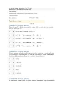 APOL 1 Administração Financeira e o Gerenciamento de Capital