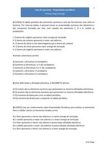 Lista de exercícios - Propriedades Periódicas (2) - Questões de vestibulares (com gabarito)