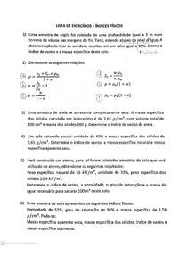 Mecânica dos Solos - Lista de exercícios resolvida - Índices Físicos