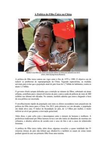 A política do filho único chinesa
