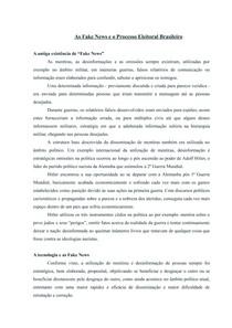 As Fake News e o Processo Eleitoral Brasileiro