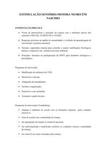 pediatria estimulação sensorio motora