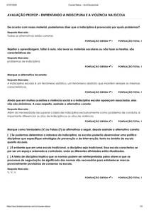 AVALIAÇÃO PROFOP ENFRENTANDO A INDISCIPLINA E A VIOLÊNCIA NA ESCOLA