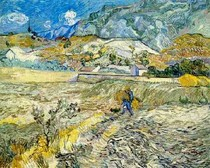 Vincent Willem van Gogh  -  Enclosed Wheat Field with Peasant