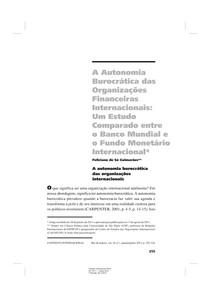 GUIMARAES A Autonomia Burocr tica das Organiza es Financeiras Internacionais  Um Estudo Comparado entre o Banco Mundial e o Fundo Monet rio