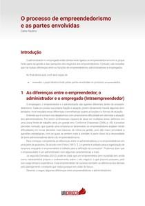 Tema 03 - O processo de empreendedorismo e as partes envolvidas