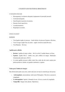 COLHEITA DE MATERIAL BIOLÓGICO