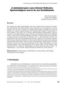 Revista de Ciências da Administração - A Administração é uma Ciência Reflexões
