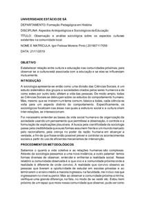 relatório sociologia
