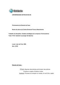 FICHAMENTO GESTÃO ESTRATTÉGICA DE COMPRAS E FORNECEDORES