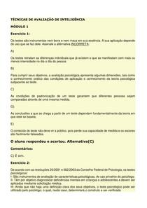 ED'S - TÉCNICAS DE AVALIAÇÃO DE INTELIGÊNCIA - MÓDULOS 1-5