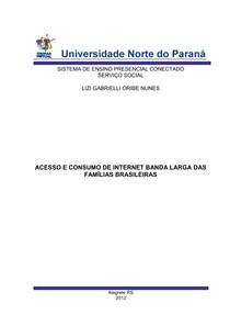 portfolio ACESSO E CONSUMO DE INTERNET BANDA LARGA DAS FAMÍLIAS BRASILEIRAS