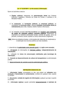 Lei nº 12 527/2011 - Lei de acesso à Informação