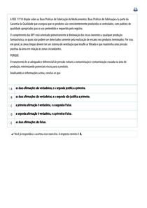 Universidade Paulista - UNIP _ TECNOLOGIA FARMACEUTICA - PRESENCIAL - QUESTOES - PROVA ONLINE