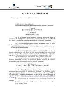 Código de Defesa do Consumidor - lei 8.078-90