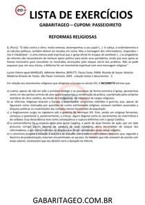 EXERCÍCIOS RESOLVIDOS REFORMAS RELIGIOSAS - 02