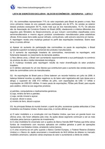 Lista de exercícios sobre Blocos Econômicos - Lista 3