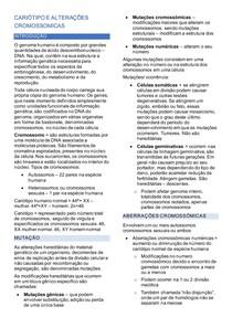 CARIÓTIPO E ALTERAÇÕES CROMOSSOMICAS